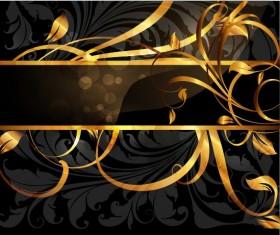 Set of Vintage Dark Golden Cards elements vector 04