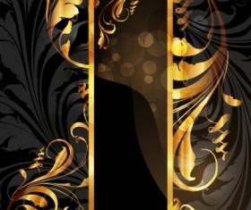 Set of Vintage Dark Golden Cards elements vector 05