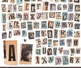Retro Newspaper alphabet vector graphics 01
