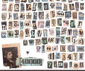 Retro Newspaper alphabet vector graphics 02
