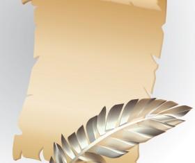 Vintage parchment scroll design vector graphics 01