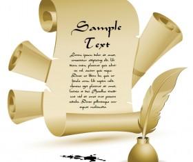 Vintage parchment scroll design vector graphics 05