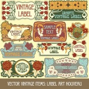 Link toVintage style label with flowers vector graphic 02