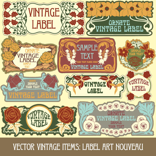 Vintage style label with flowers vector graphic 02 - Vector Label free ...