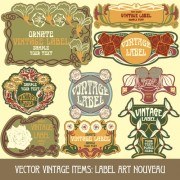 Link toVintage style label with flowers vector graphic 04