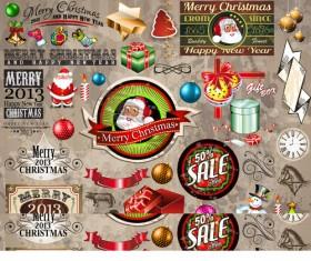Vivid Christmas decor elements vector graphics 01