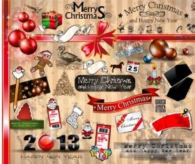 Vivid Christmas decor elements vector graphics 02