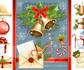 Vivid Christmas decor elements vector graphics 03