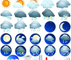 Different Weather icons vector set 02