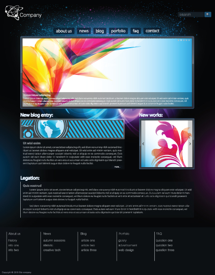 black style website templates design vector 03 free download