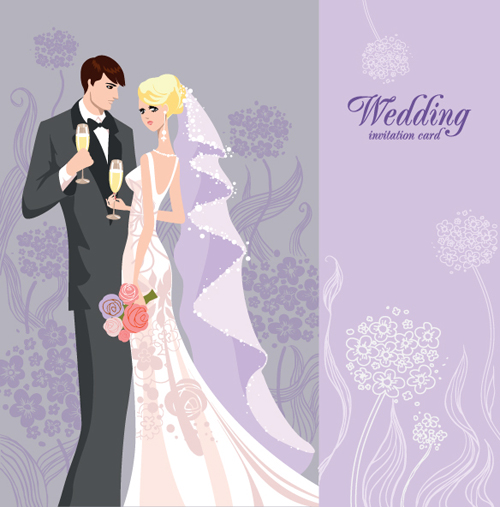 Set of Wedding Invitation cards elements vector graphics 04