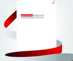 Set of White form and red ribbons backgrounds vector 01