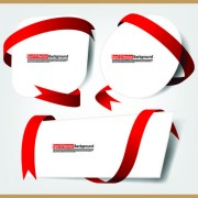 Link toSet of white form and red ribbons backgrounds vector 03