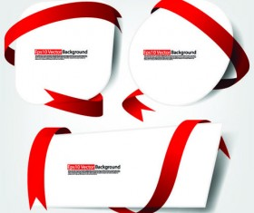 Set of White form and red ribbons backgrounds vector 03