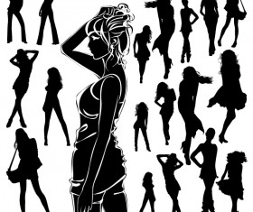 Different Women Silhouettes vector material 01
