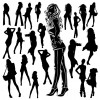 Different Women Silhouettes vector material 03