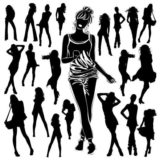 Different Women Silhouettes vector material 04 - Vector People ...