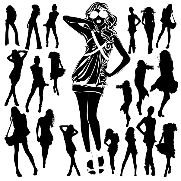 Different Women Silhouettes Vector Material 06 Free Download