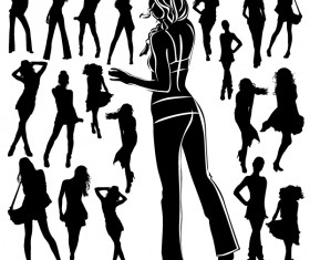 Different Women Silhouettes vector material 07