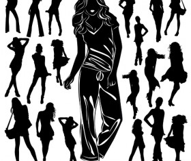 Different Women Silhouettes vector material 08