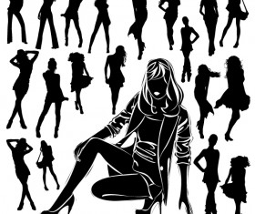 Different Women Silhouettes vector material 09