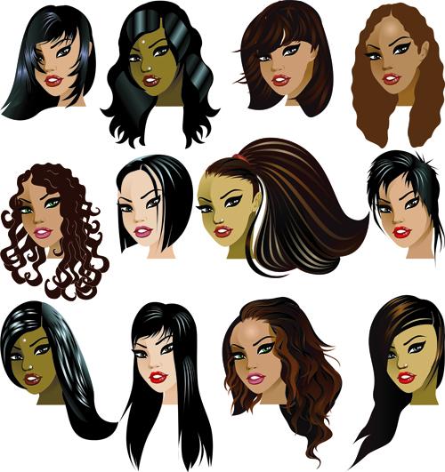 Various Womens haircut design vector 01