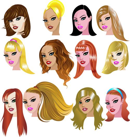 Various Womens haircut design vector 02