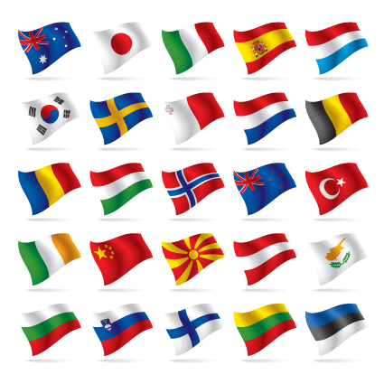 Different World Flags elements vector 02