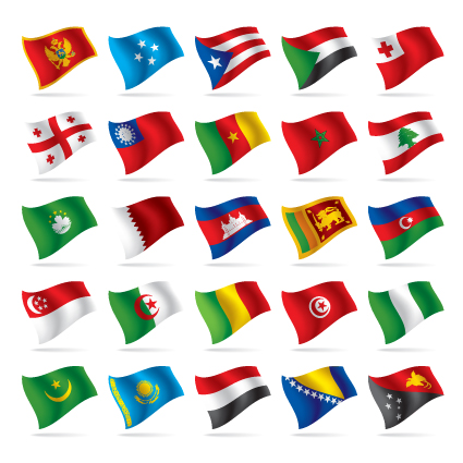 Different World Flags elements vector 04