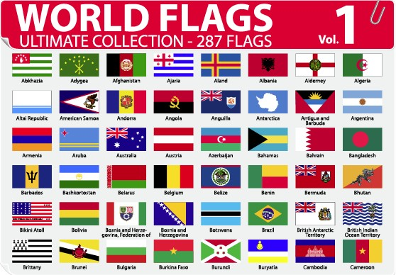 Various of World flags vector set 04