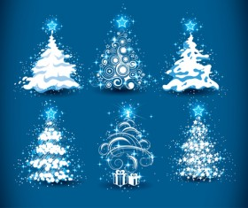 Set of Christmas Trees design elements vector 01