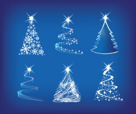 Set of Christmas Trees design elements vector 02