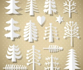Set of Christmas Trees design elements vector 03