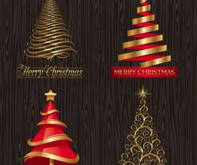 Set of Christmas Trees design elements vector 04