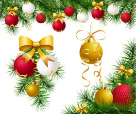 Different Xmas decorations vector material 04