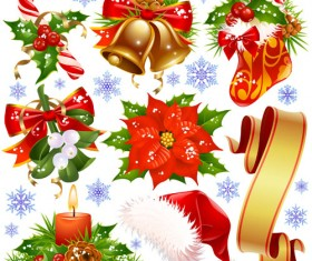 Different Xmas decorations vector material 05
