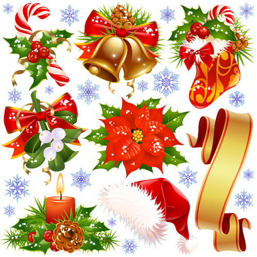 Different xmas decorations vector material 05 vector for Different xmas decorations