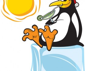 Funny penguins design elements vector 04