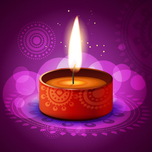 Burning candles vector background art 02