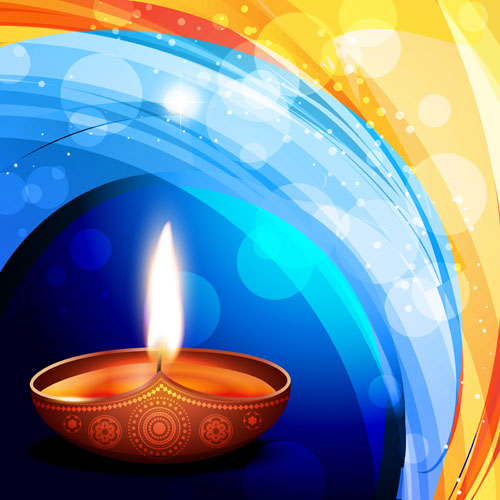 Burning candles vector background art 03