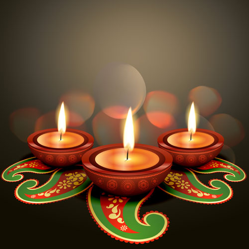 Burning candles vector background art 04