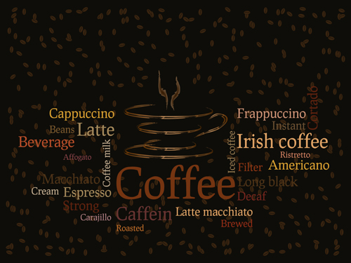 Different Coffee elements vector background set 04