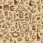 Link toDifferent coffee elements vector background set 05