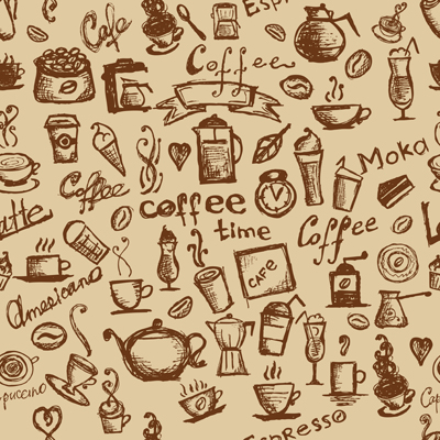 Different Coffee elements vector background set 05