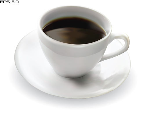 Set of Cup with coffee design vector 01