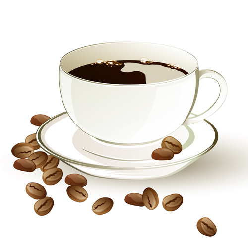 Set of Cup with coffee design vector 03