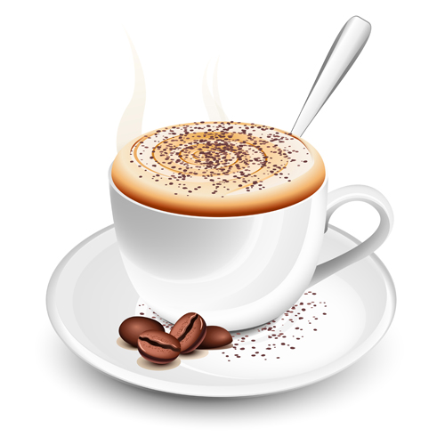 Set of Cup with coffee design vector 05
