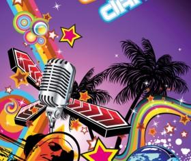 Disco party Flyer cover design vector 03