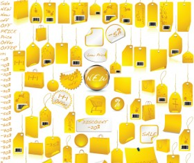black and yellow discount Tags with Stickers vector 02