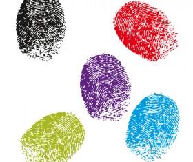 Colored Finger-prints elements vector set 03